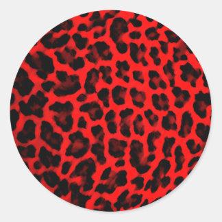 Red Leopard Print Classic Round Sticker