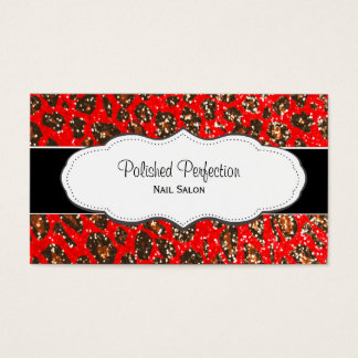 Red Leopard Print Faux Glitter Business Cards