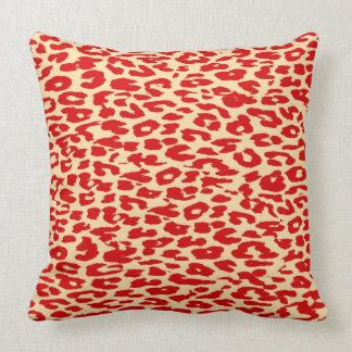 Red Leopard Print Skin Throw Pillow