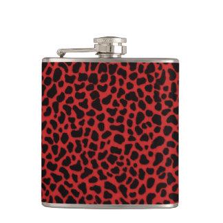 Red Leopard Skin Hip Flask