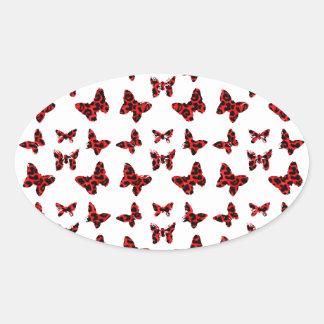 Red Leopard Spots Butterfly Pattern Oval Sticker