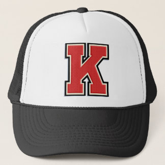 "Red Letter ""K"" Initial Trucker Hat"