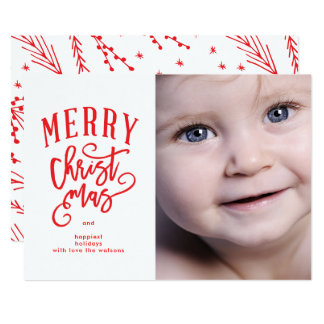 Red Lettering Merry Christmas Photo Holiday Card