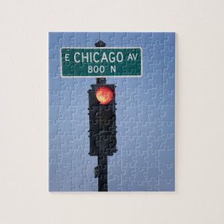 Red light, Chicago Illinois, USA Jigsaw Puzzle