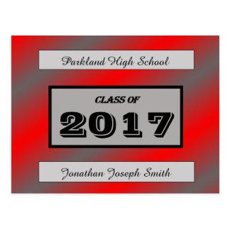 Red/Light Gray Graduation Postcard