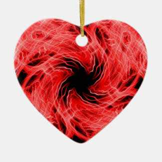 Red light trails pattern ceramic heart ornament