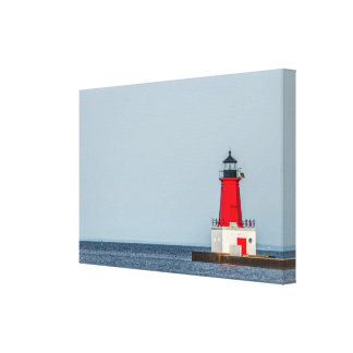 Red Lighthouse at End of Pier on Lake Michigan Canvas Print