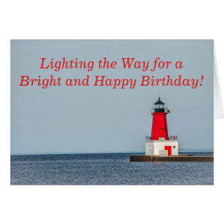 Red Lighthouse at End of Pier on Lake Michigan Card