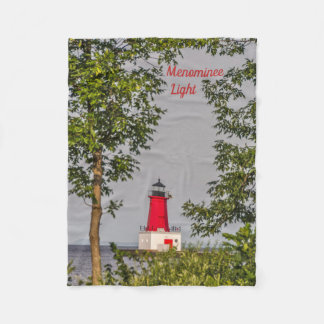 Red Lighthouse at End of Pier on Lake Michigan Fleece Blanket