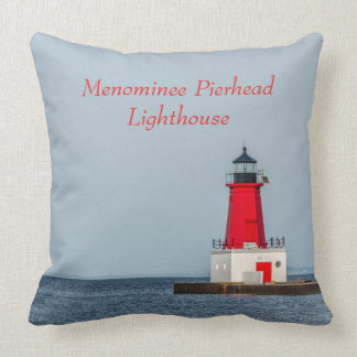 Red Lighthouse at End of Pier on Lake Michigan Throw Pillow