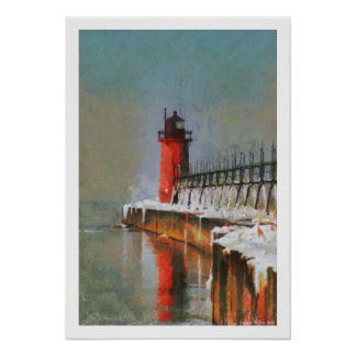 Red Lighthouse Poster Print