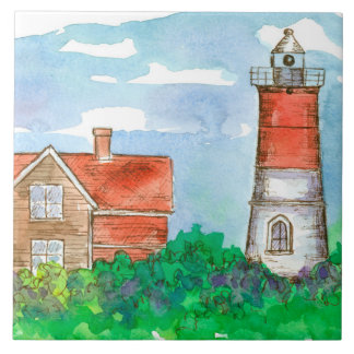 Red Lighthouse Watercolor Sketch Tile