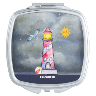 Red Lighthouse with a Stormy Background Custom Travel Mirror