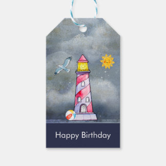 Red Lighthouse with a Stormy Background Gift Tags