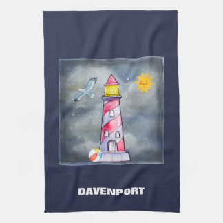 Red Lighthouse with a Stormy Background Kitchen Towel