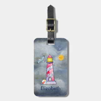 Red Lighthouse with a Stormy Background Luggage Tag