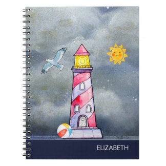 Red Lighthouse with a Stormy Background Notebook