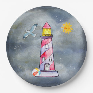 Red Lighthouse with a Stormy Background Paper Plate
