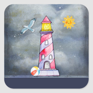 Red Lighthouse with a Stormy Background Square Sticker