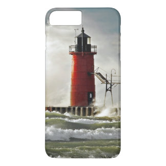 red lighthouse with giant wave iPhone 7 plus case