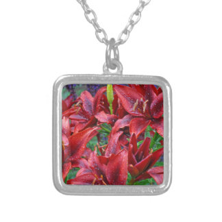 Red lily flowers silver plated necklace