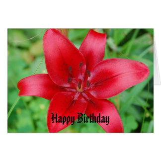 Red Lily Happy Birthday Card