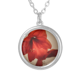 red lily silver plated necklace
