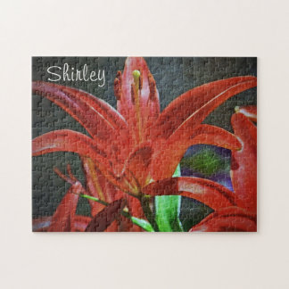 Red Lily-Textured by Shirley Taylor Jigsaw Puzzle