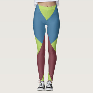 Red, lime and Blue Chevrons Leggings