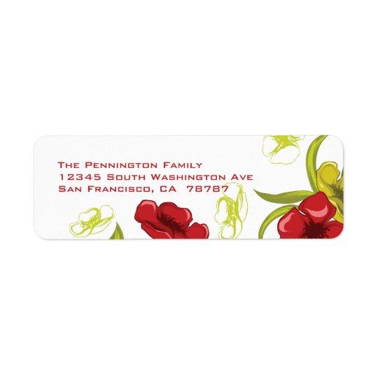 Red + Lime Green poppy flowers address label