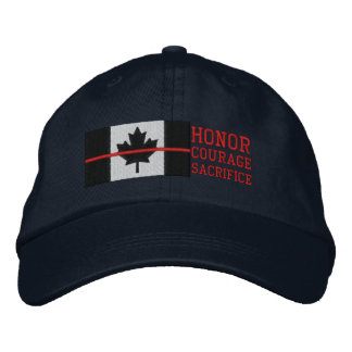 Red Line Canadian Flag Honor Courage Sacrifice Embroidered Hat