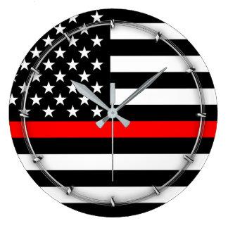 Red Line US Flag Large Clock