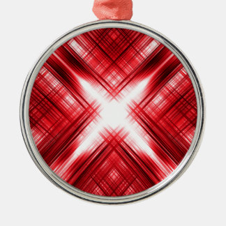 Red lines cross Silver-Colored round ornament