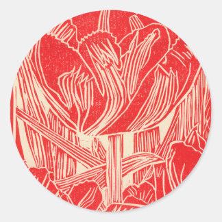 Red Linocut Tulip Round Stickers