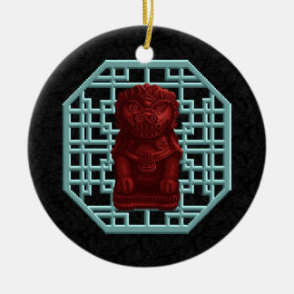 Red Lion Dog Pixel Art Ceramic Ornament