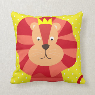 Red Lion on Yellow Polka Dot Throw Pillow
