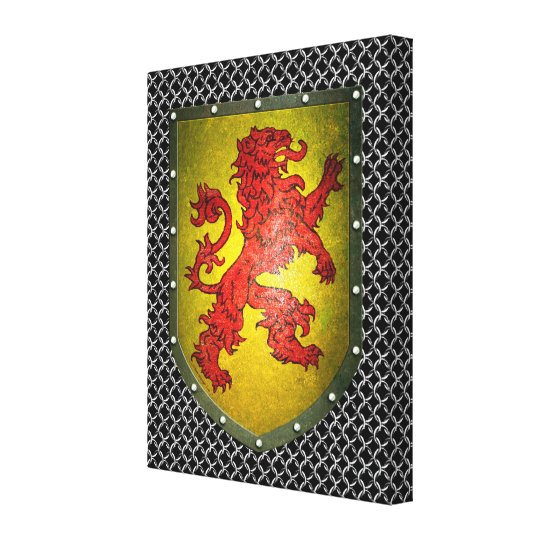Red Lion Shield Chainmail Canvas Print