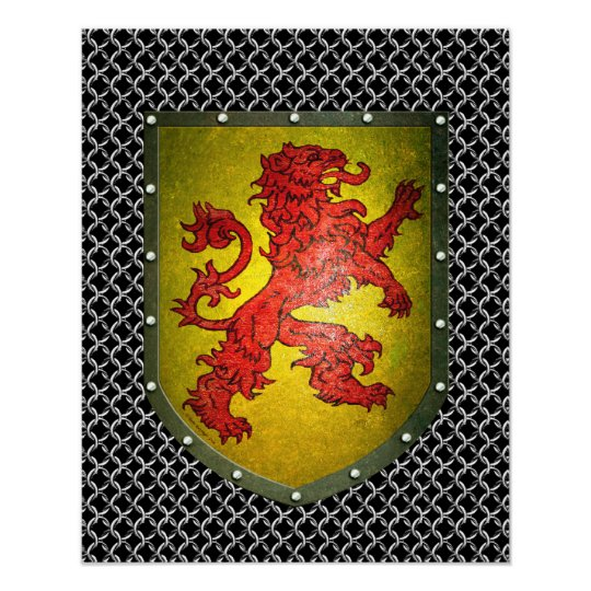 Red Lion Shield Chainmail Poster