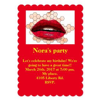 "Red lips 5x7 invitation. 5"" x 7"" invitation card"