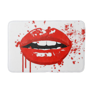 Red lips beauty fashion makeup kiss bath mat