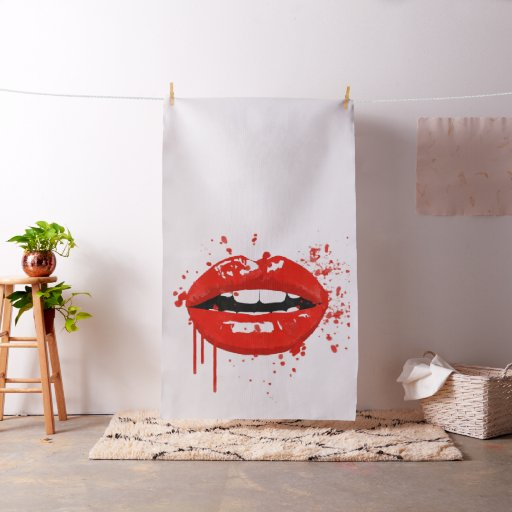 Red lips beauty makeup kiss glamour fabric