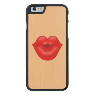 Red lips big kiss carved® maple iPhone 6 slim case