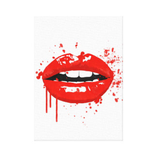 Red lips fashion modern illustration canvas print