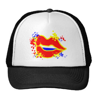 Red Lips Grafitti Paint Design Trucker Cap Trucker Hat