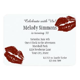 """Red Lips Kiss 5"""" X 7"""" Invitation Card"""