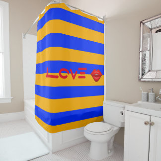 Red lips kiss blue orange stripes shower curtain