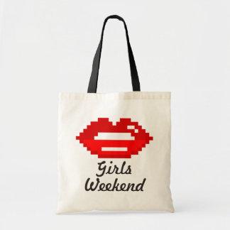 Red lips kiss girls weekend tote bag