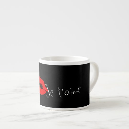 Red Lips Kiss Je t'aime Coffee Espresso Mug