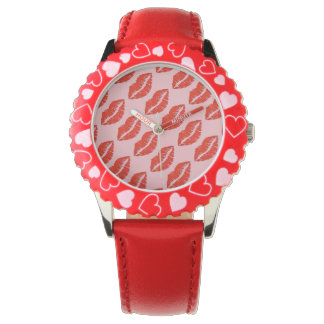 Red Lips Kiss Kisses Hearts Love Valentine's Watch