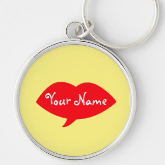 Red Lips Kiss Personalized Keychain